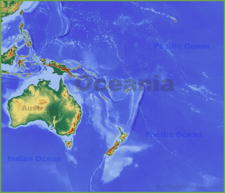 Physical map of Oceania