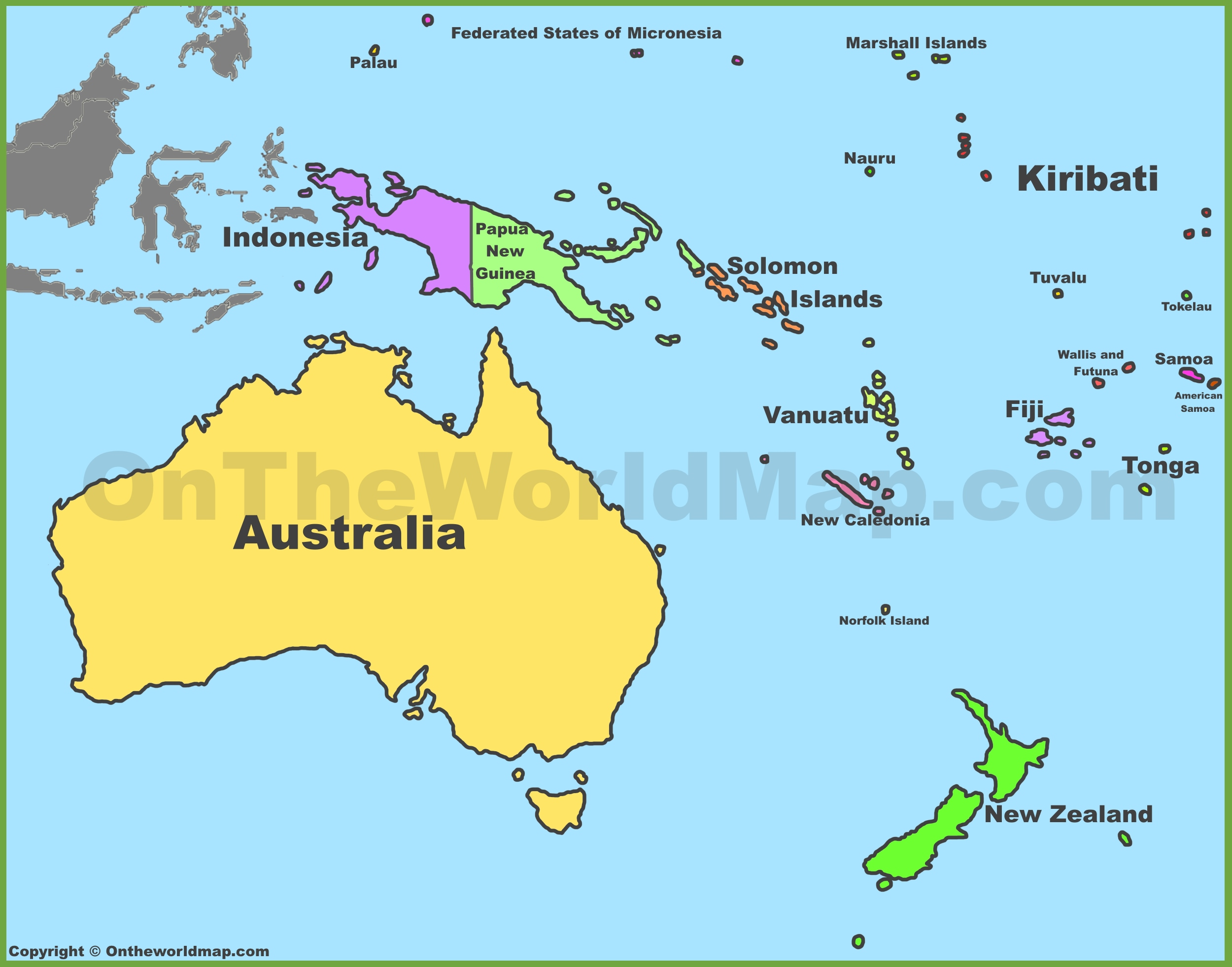Political map of Australia and Oceania