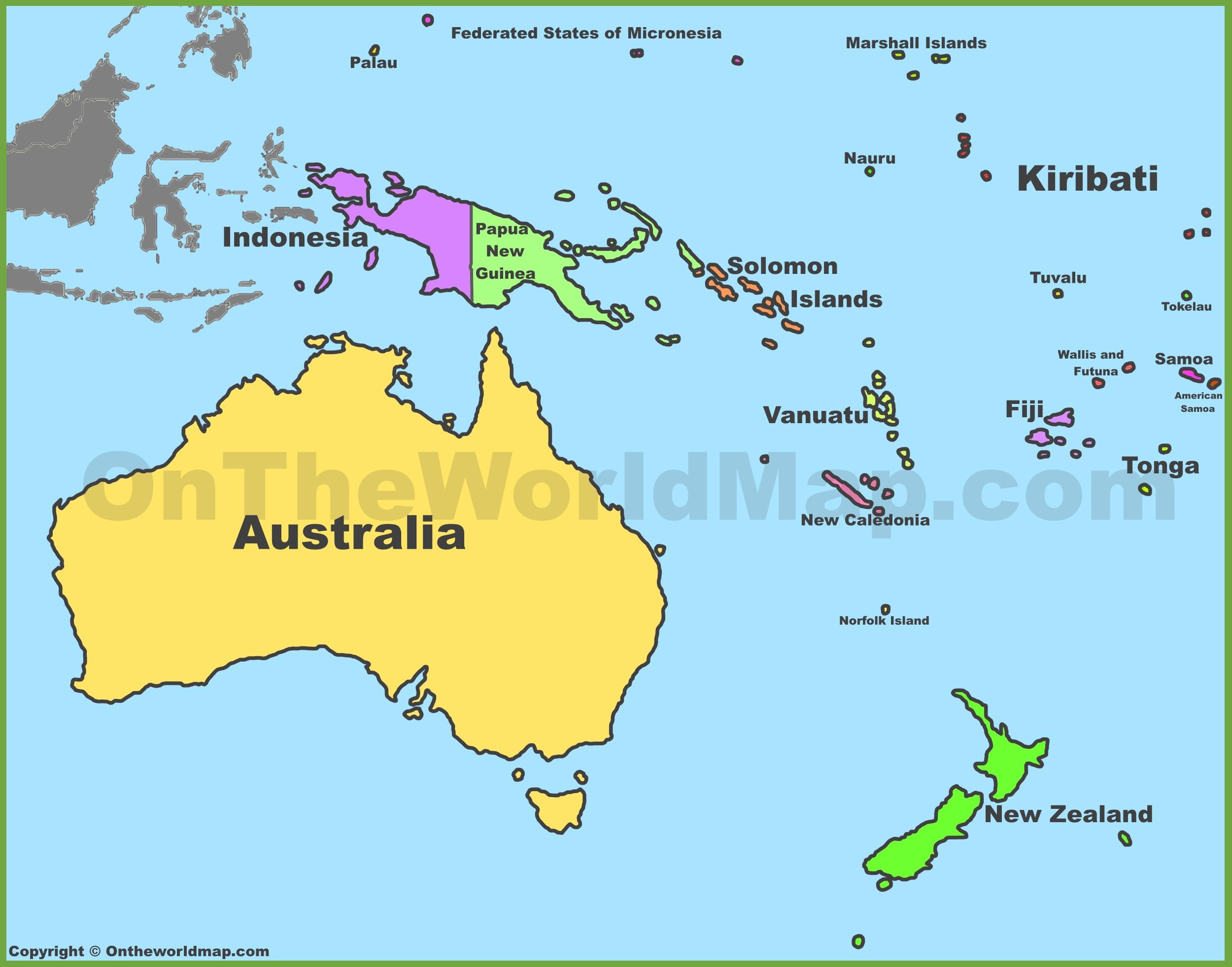Australia And Oceania Map Oceania Maps | Maps of Oceania   OnTheWorldMap.com