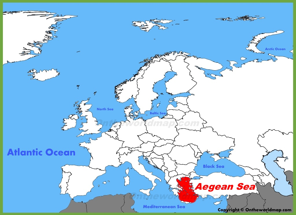 Aegean Sea location on the Europe map