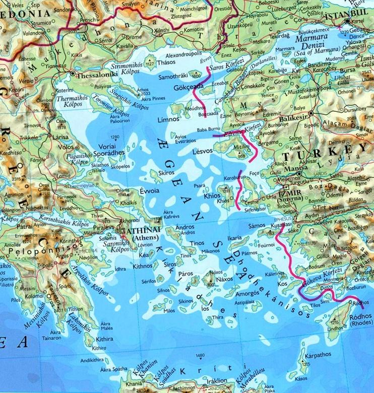 Aegean Sea physical map