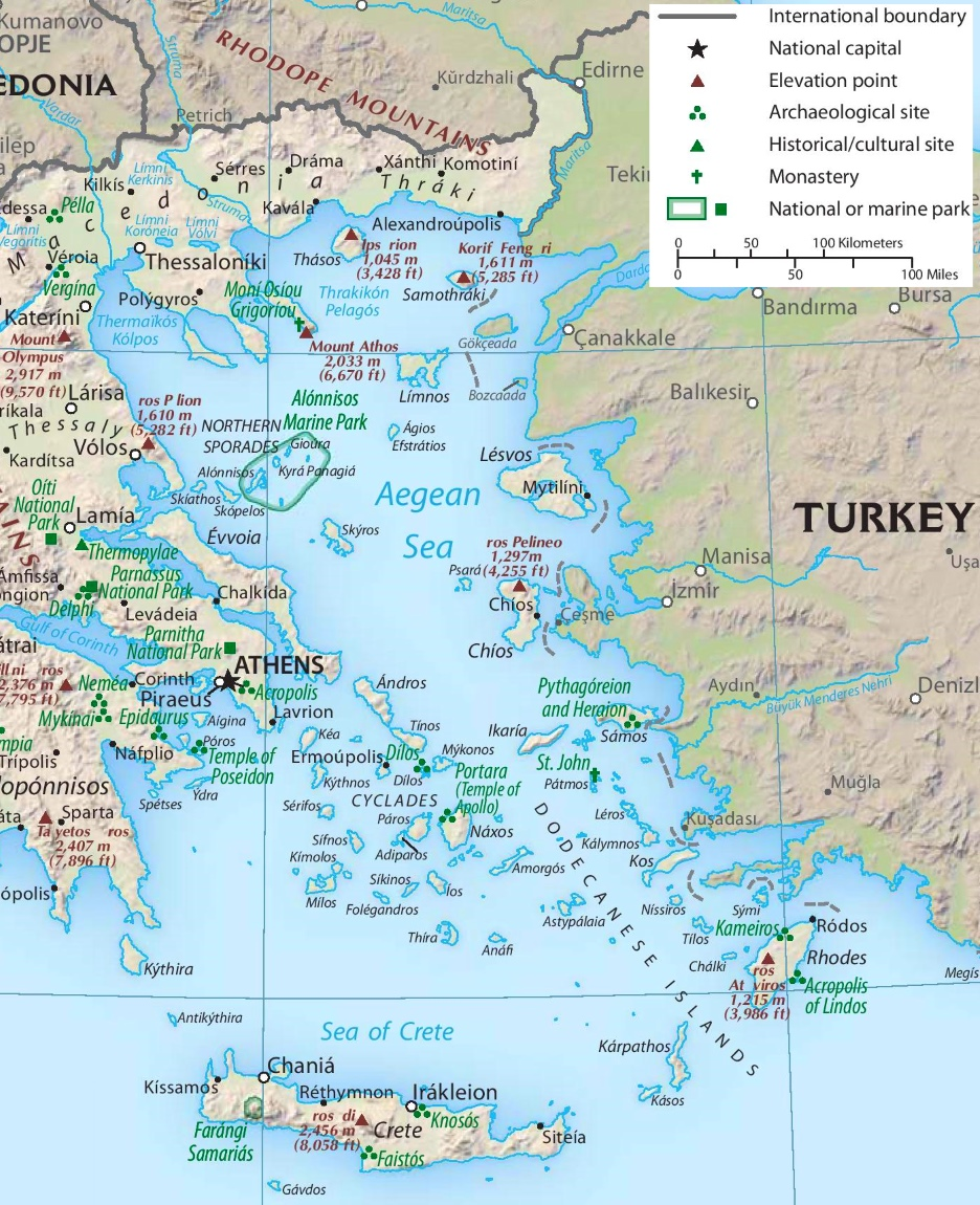 Map Aegean Sea Islands Aegean Sea tourist map