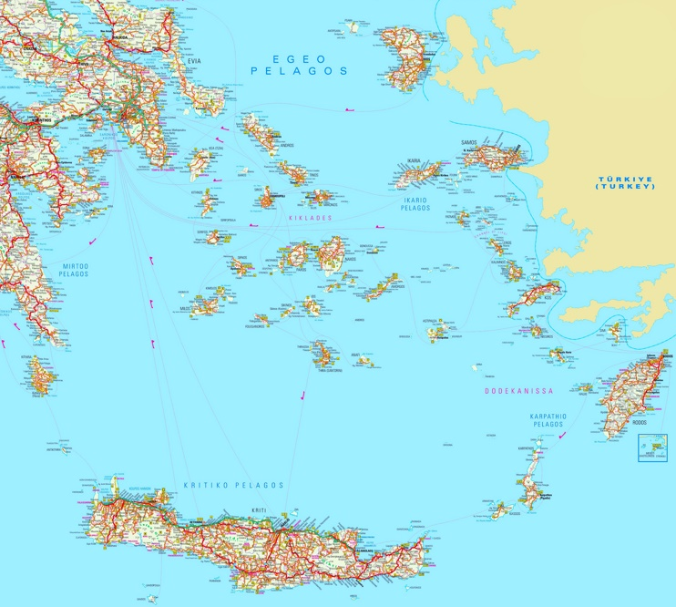 Large detailed map of South Aegean Sea