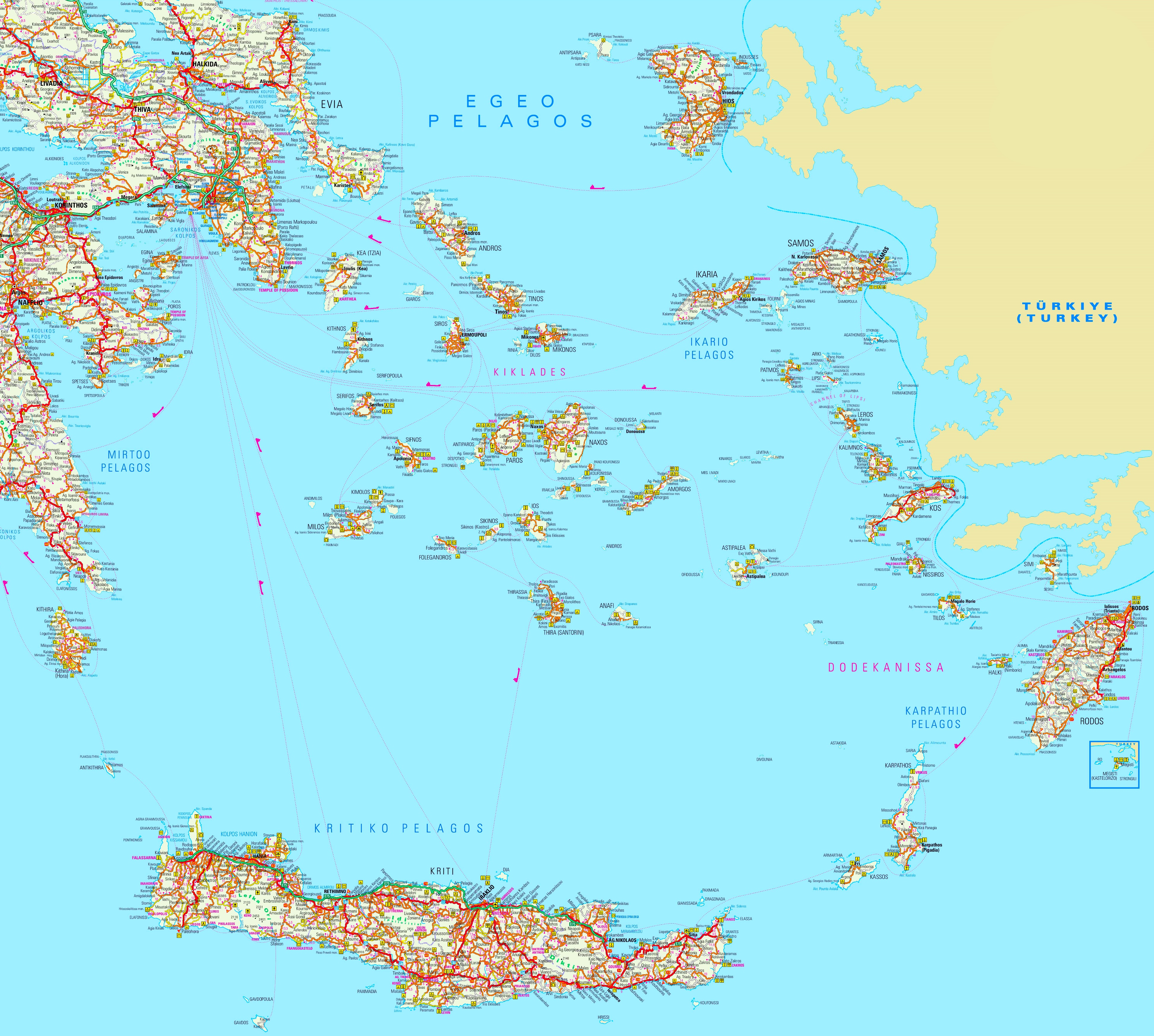 Aegean Sea Map Large detailed map of South Aegean Sea Aegean Sea Map