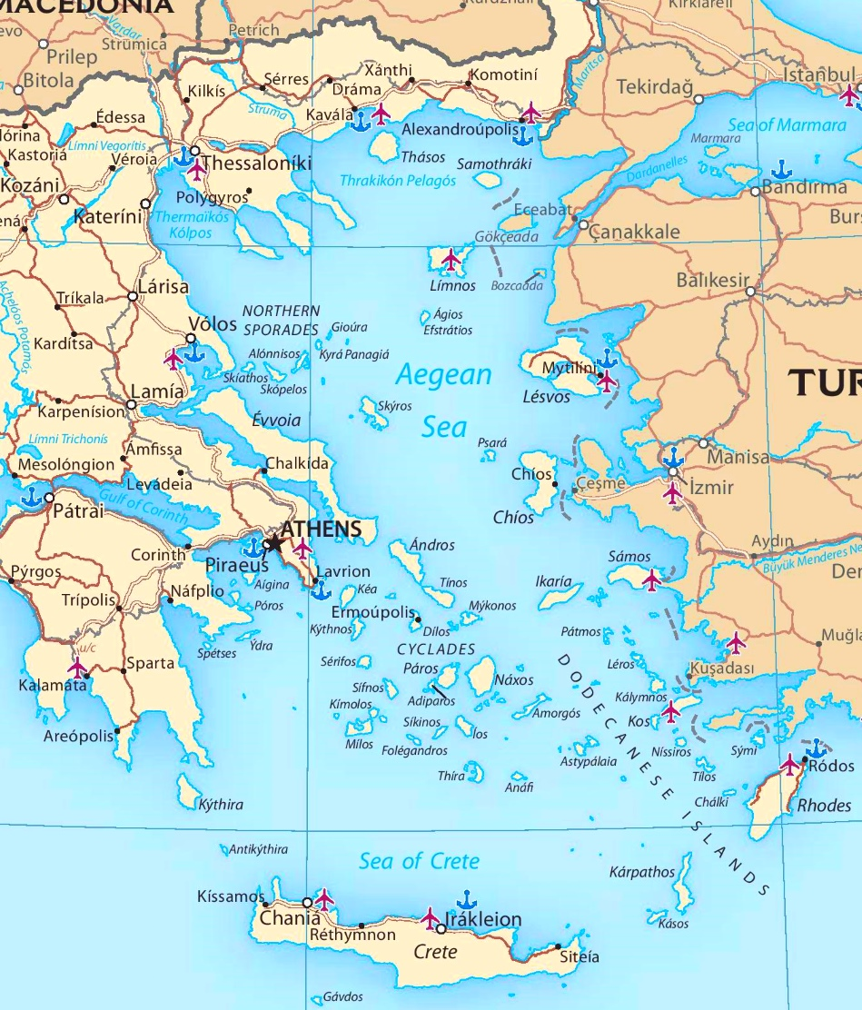 Map of Aegean Sea with islands