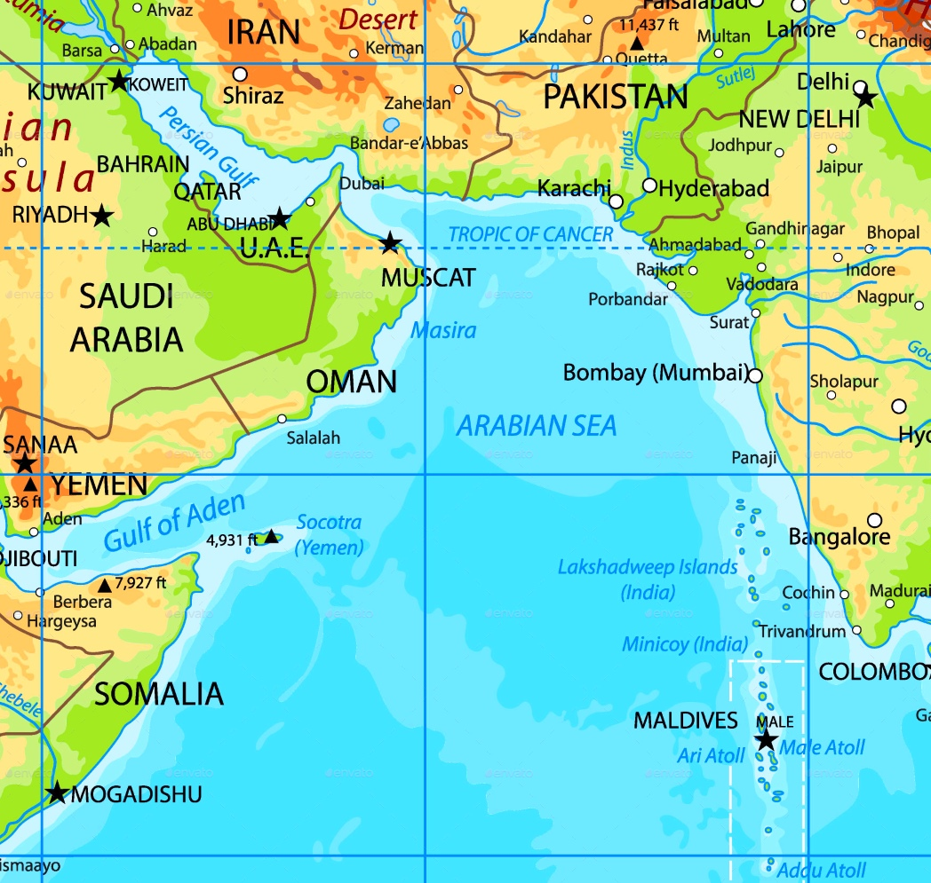 Arabian Sea Map Arabian Sea physical map Arabian Sea Map