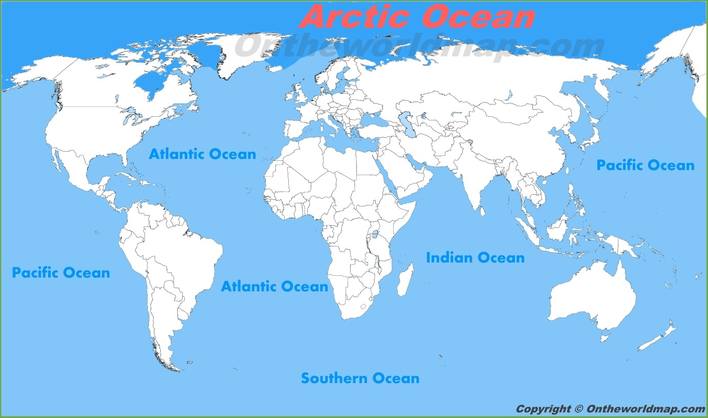 Arctic Ocean location on the World Map