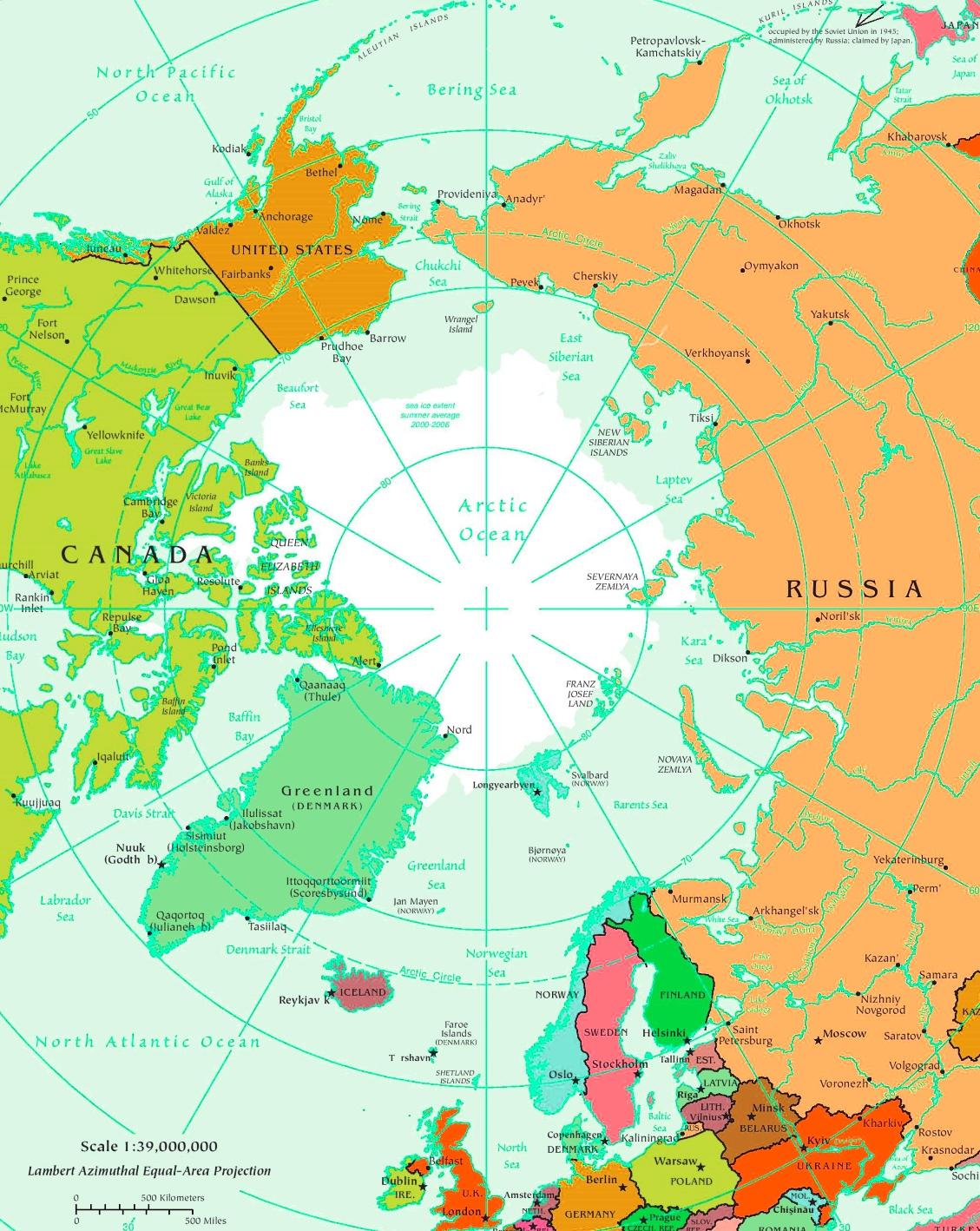 Arctic Ocean Map Arctic Ocean political map Arctic Ocean Map