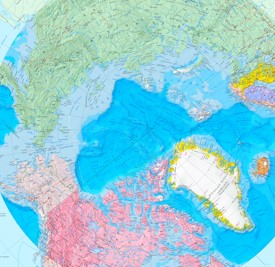 Large detailed map of Arctic Ocean