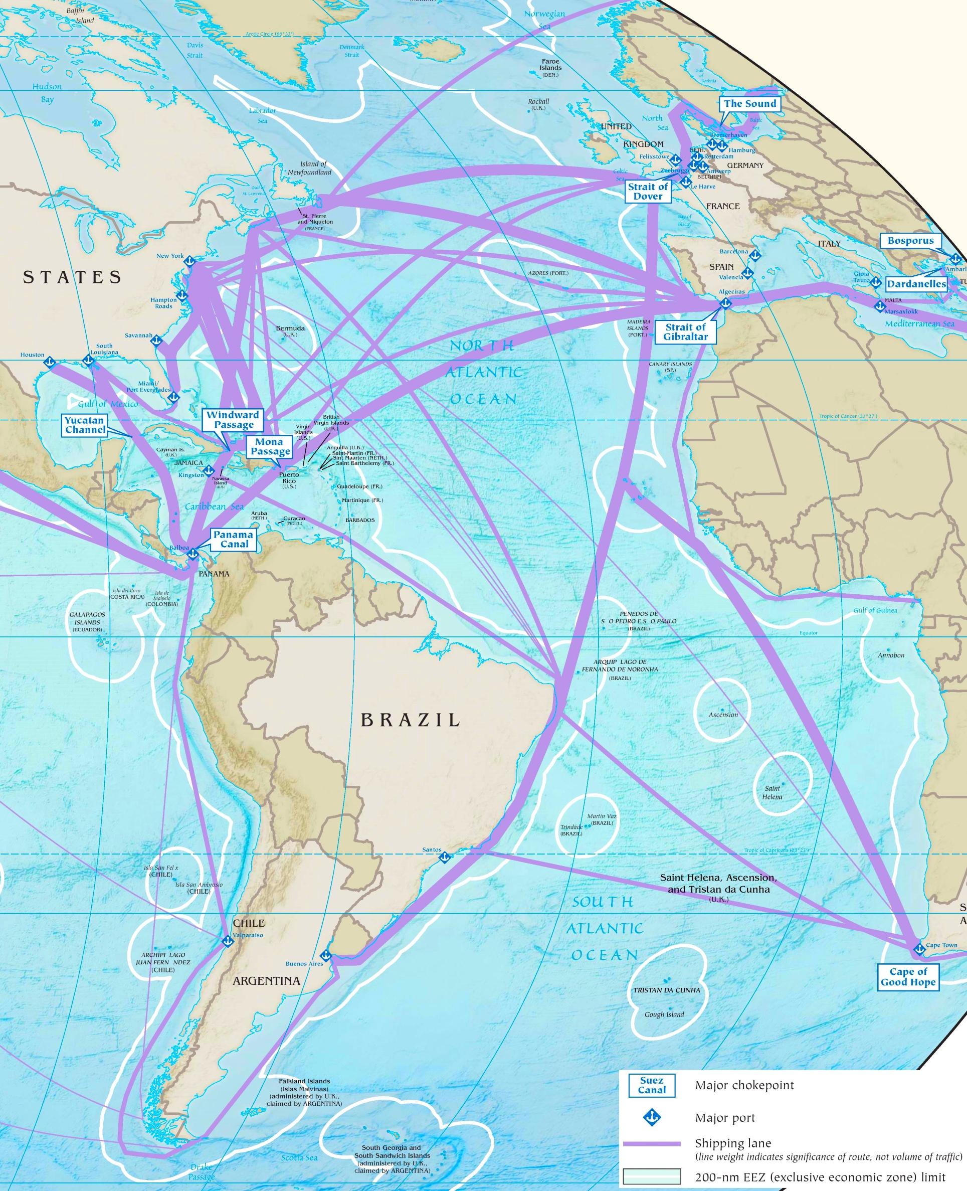 Atlantic Ocean Maps | Maps of Atlantic Ocean on usa rail map, usa airports map, usa road map,
