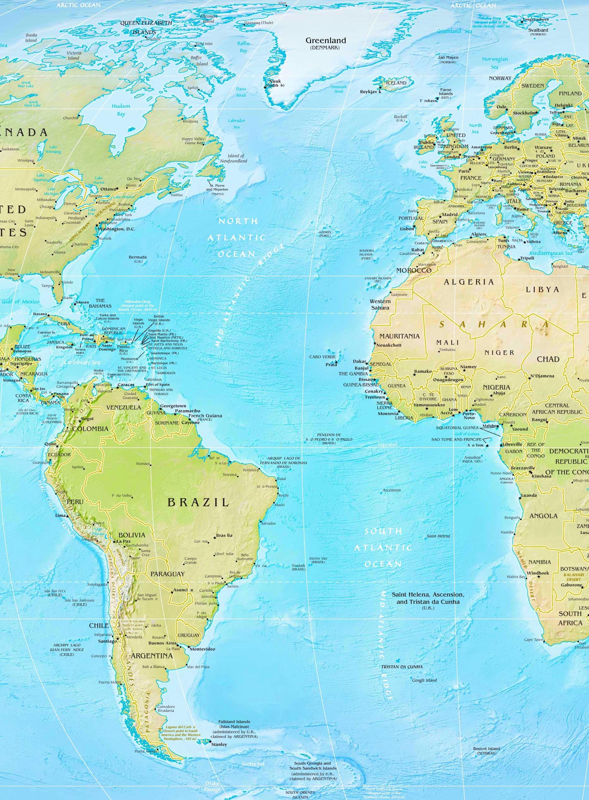 Map Of The Atlantic Ocean Atlantic Ocean physical map