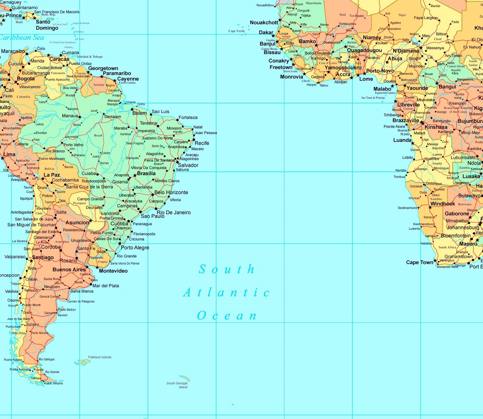 South Atlantic Ocean Map