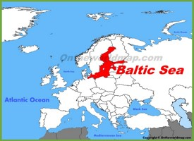 Baltic Sea location on the Europe map