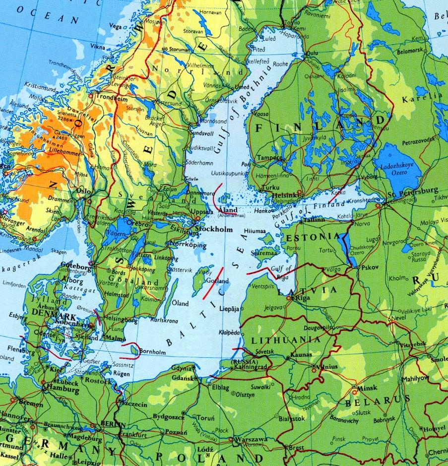Baltic Sea physical map