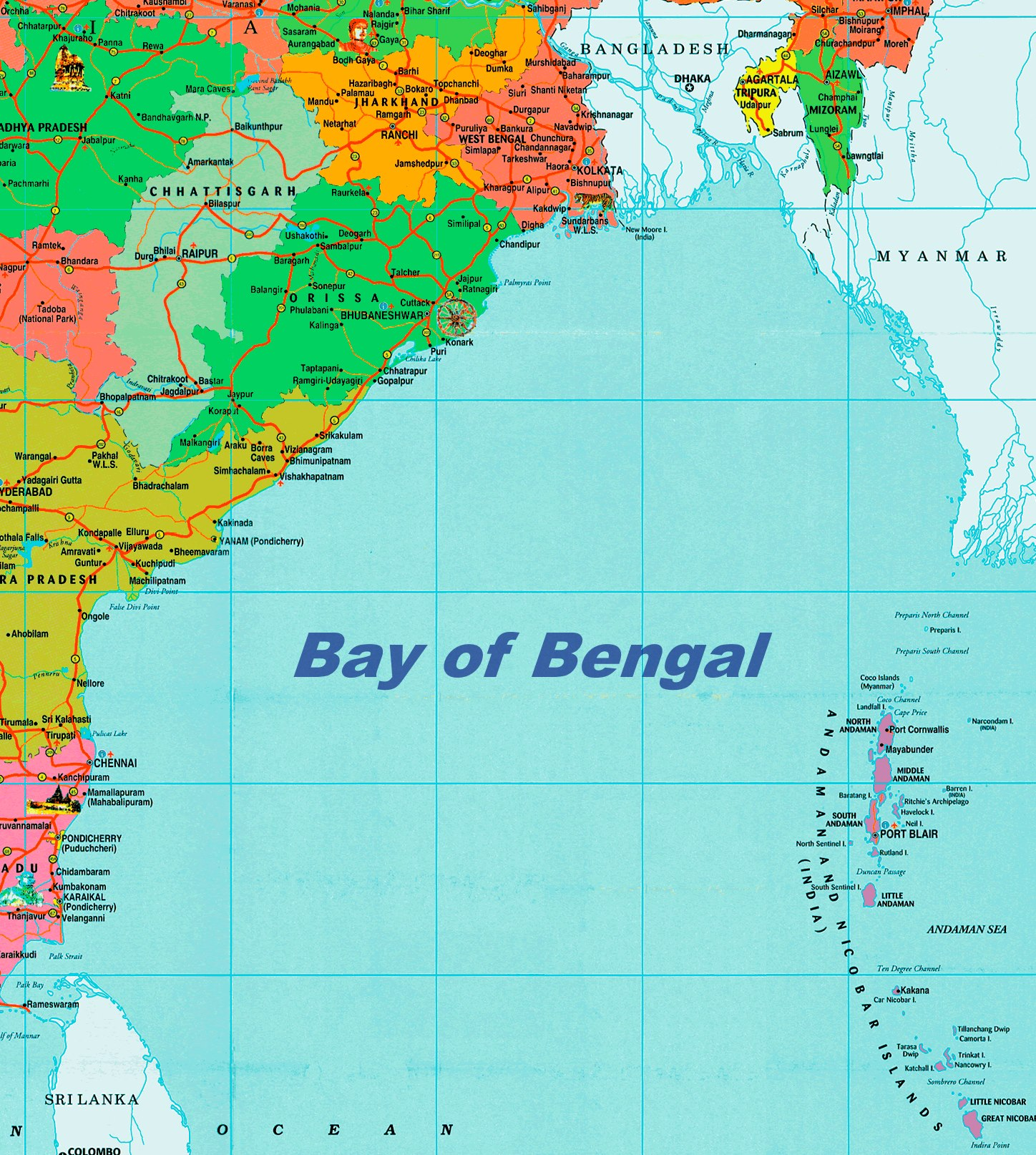 Bay Of Bengal Map Bay of Bengal political map Bay Of Bengal Map