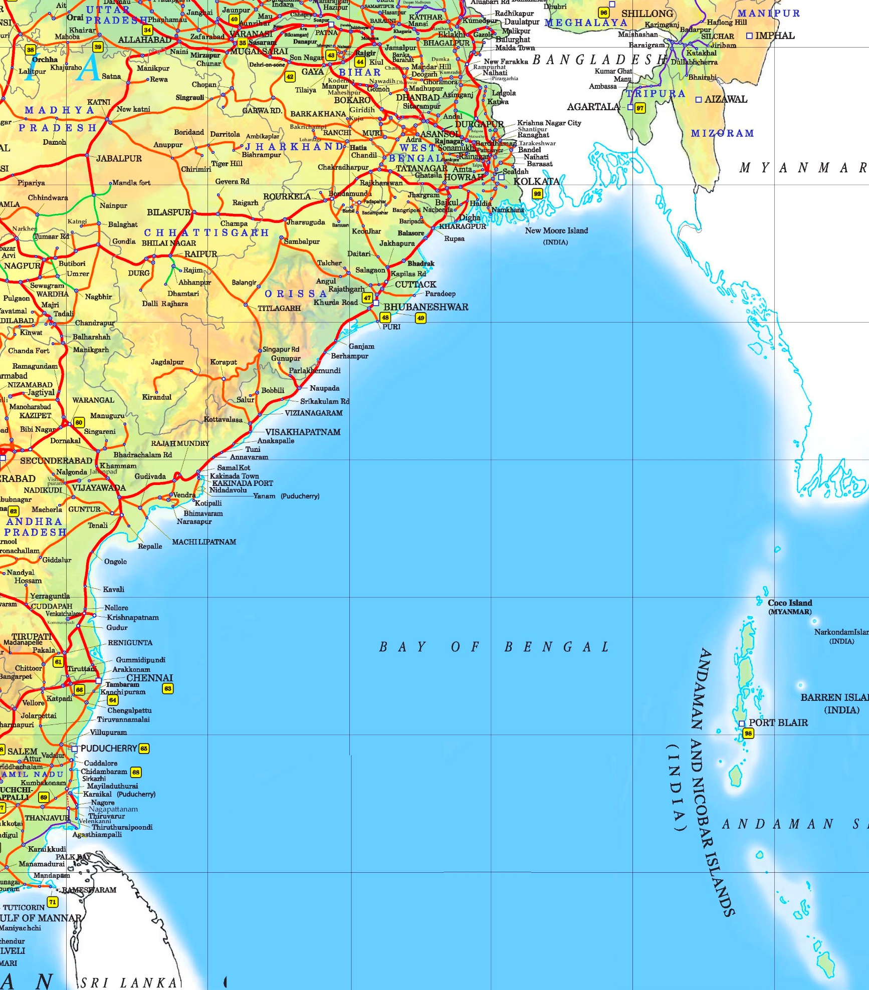 Large detailed map of Bay of Bengal with cities