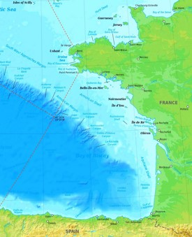 Bay of Biscay physical map