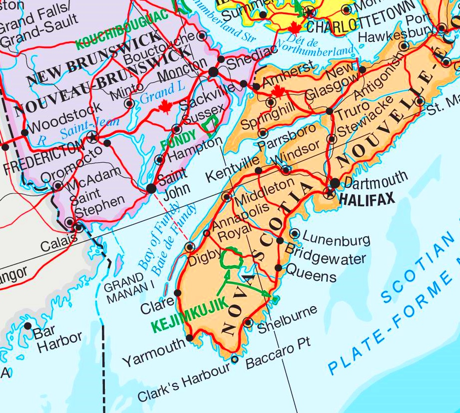Bay Of Fundy Map Bay of Fundy area map