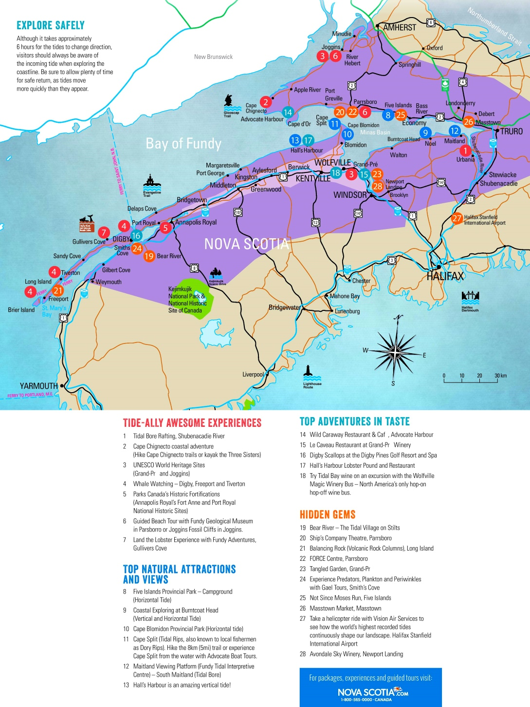 Bay of Fundy tourist attractions map