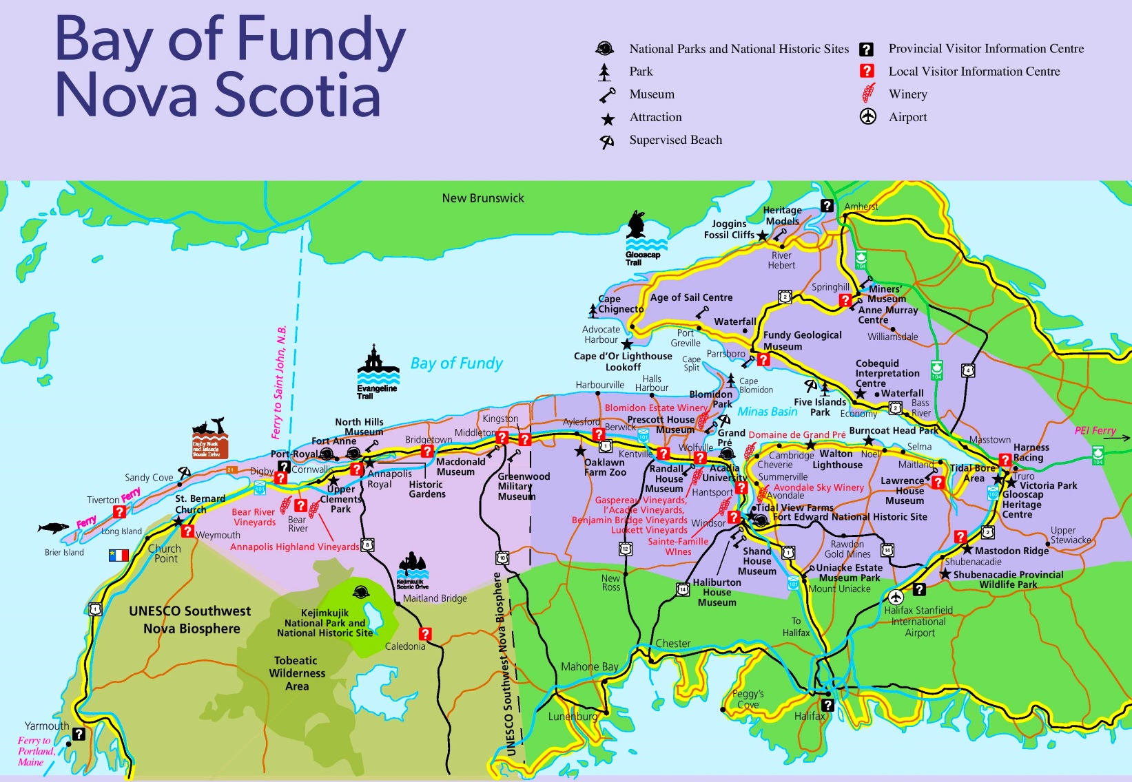 Bay Of Fundy Map Bay of Fundy tourist map