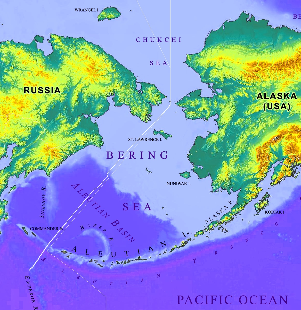 Picture of: Bering Sea Physical Map