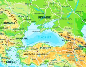 Black Sea physical map