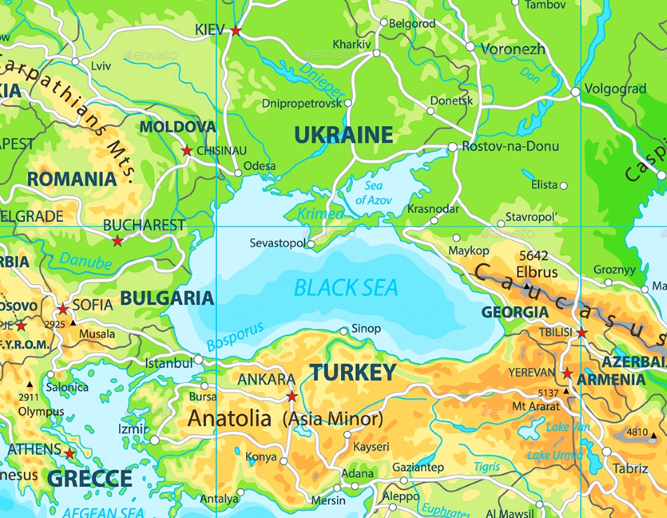 Black Sea physical map on