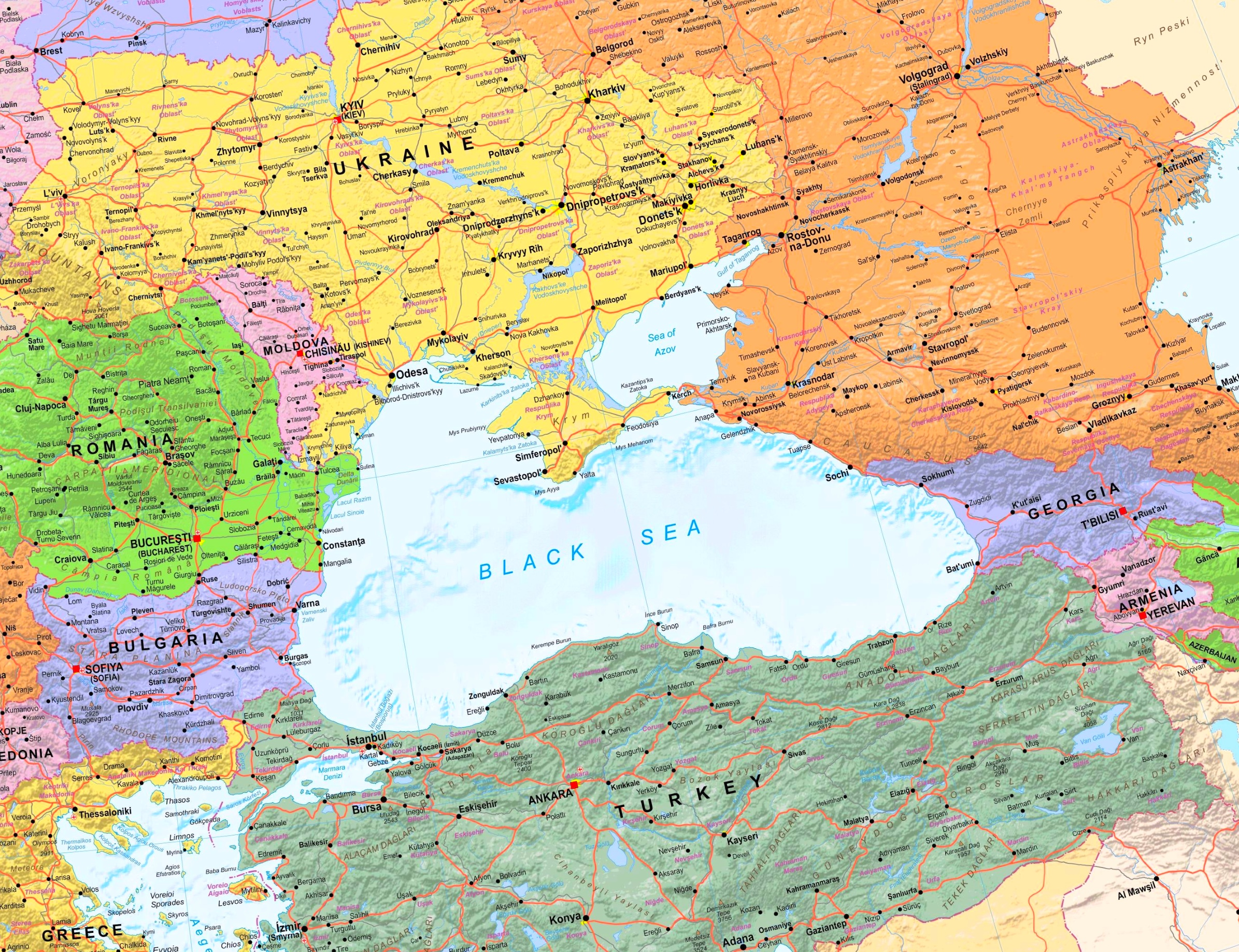Large detailed map of Black Sea with cities