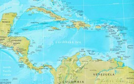 Caribbean Sea physical map
