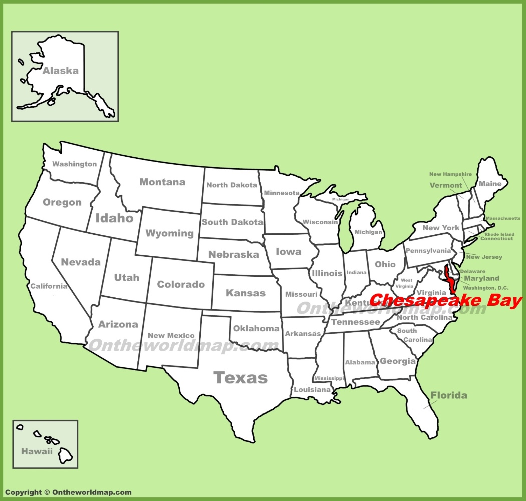 Chesapeake Bay On Map Of Usa.Chesapeake Bay Location On The U S Map
