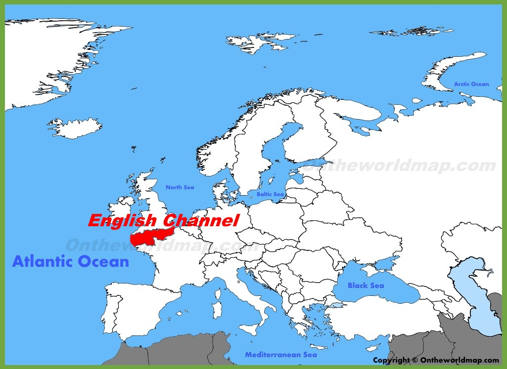English Channel Map English Channel location on the Europe map English Channel Map