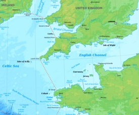 English Channel physical map
