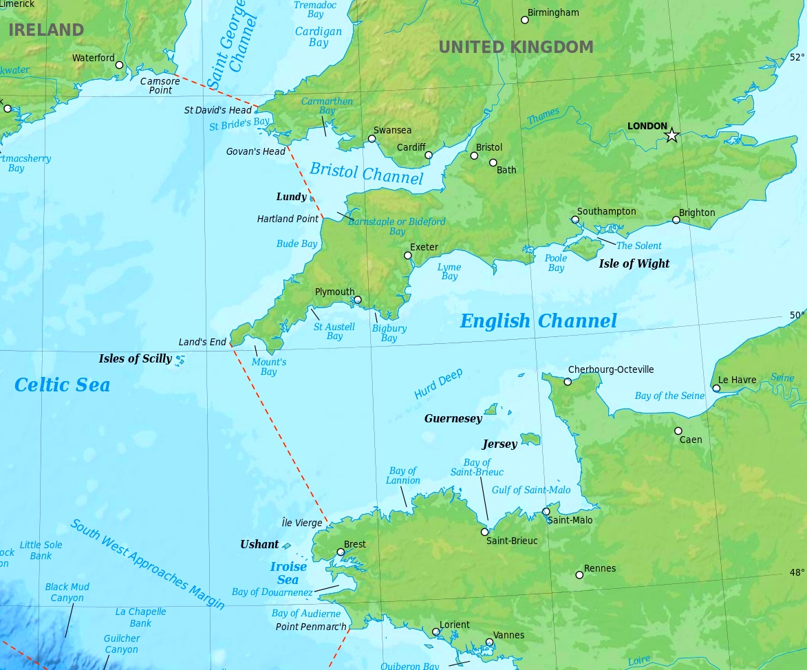 English Channel Map English Channel physical map English Channel Map