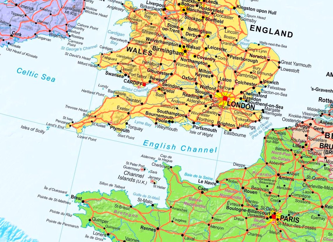 English Channel Map English Channel political map English Channel Map