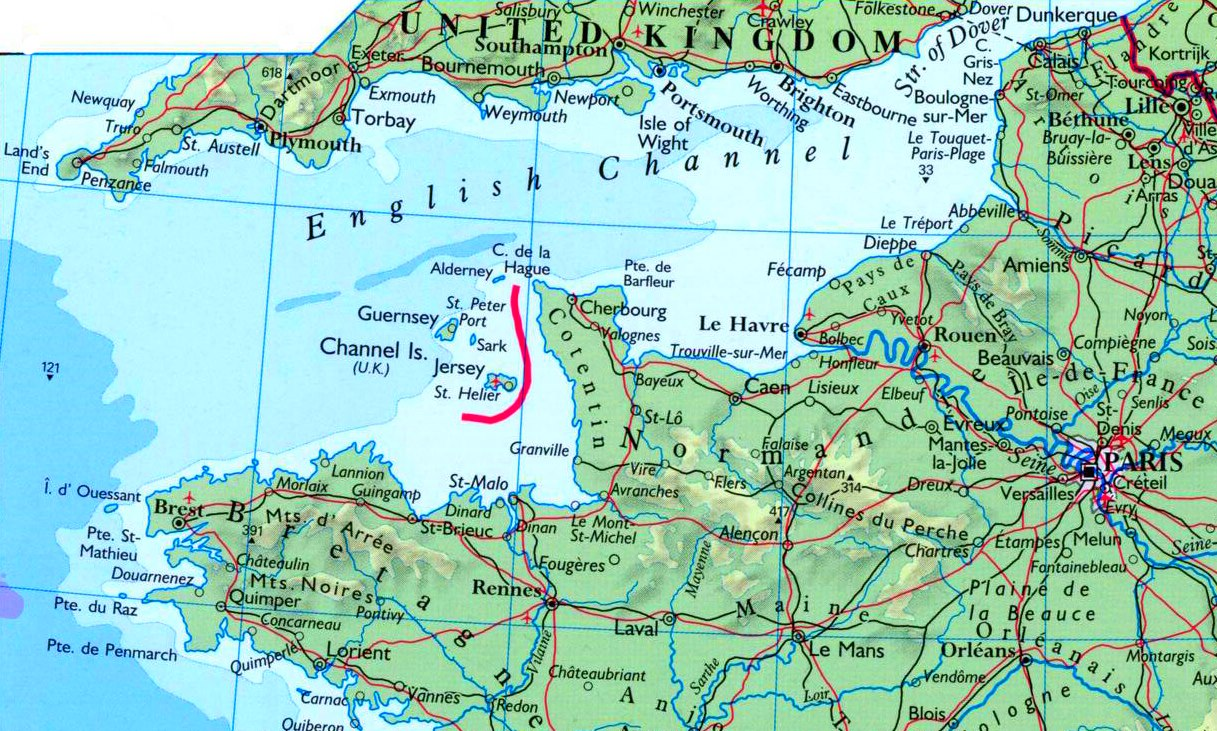 English Channel On Map Map of English Channel with cities and towns