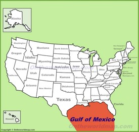 Gulf of Mexico location on the U.S. map