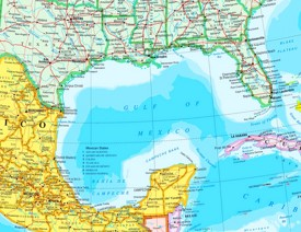 Large detailed map of Gulf of Mexico with cities