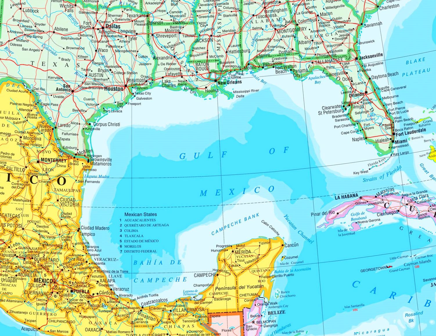 Map Gulf Of Mexico Large detailed map of Gulf of Mexico with cities Map Gulf Of Mexico