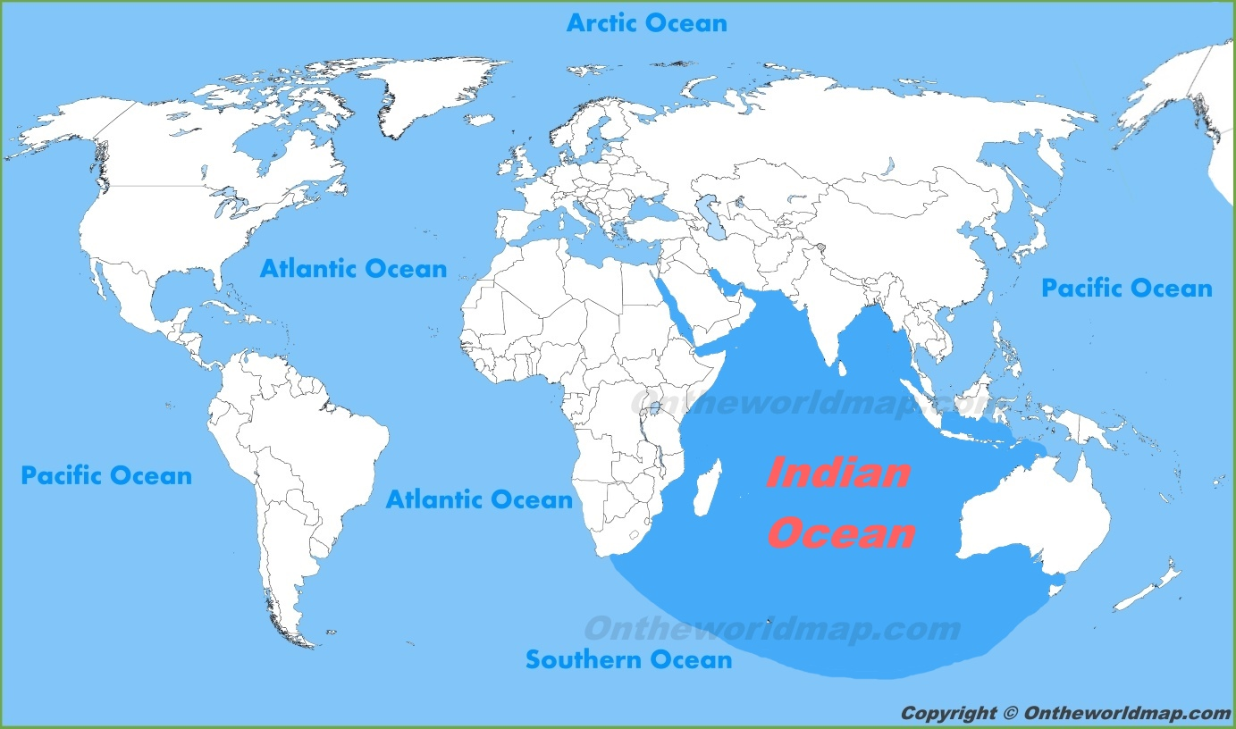 indian ocean location on the world map