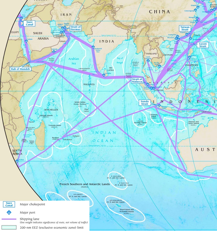 Indian Ocean major ports map