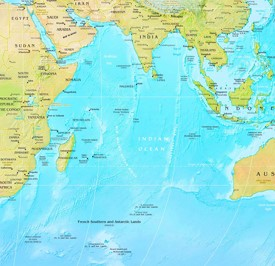 Indian Ocean physical map