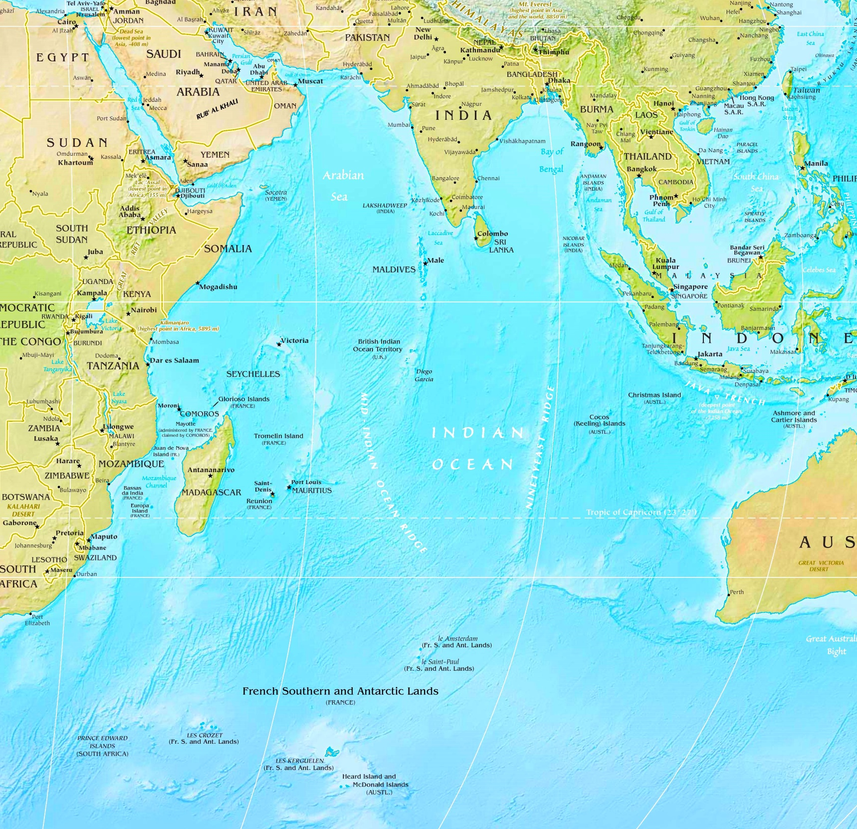 Indian ocean physical map indian ocean physical map gumiabroncs Choice Image