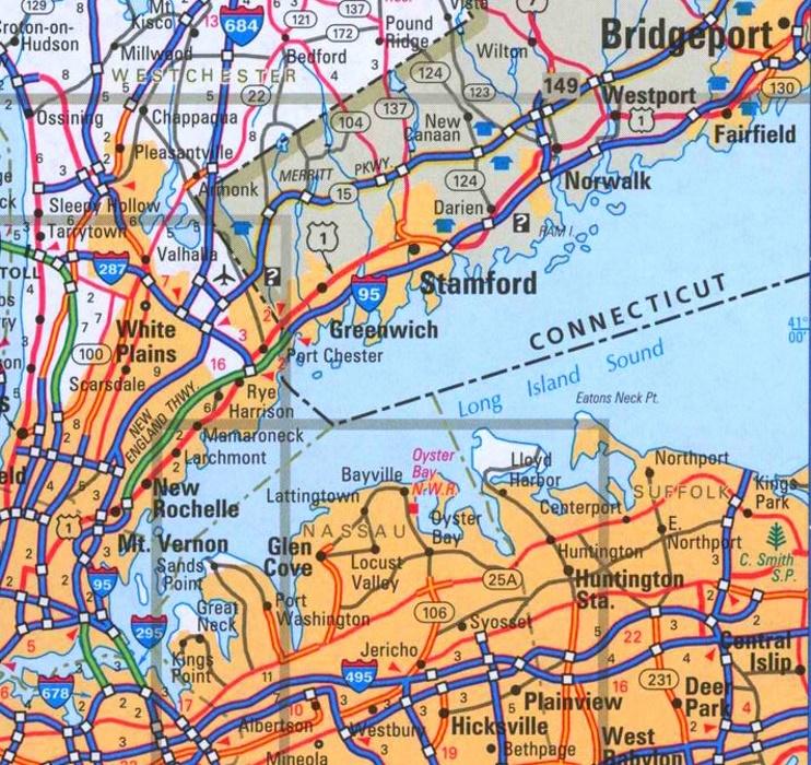 Road Map Long Island Long Island Sound road map