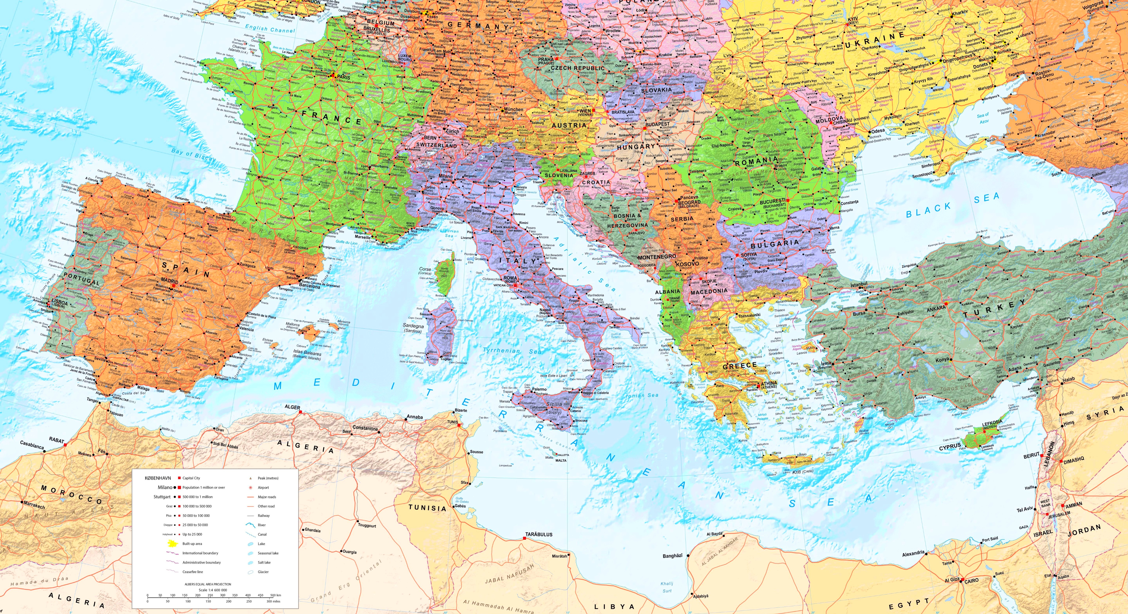 Map Of The Mediterranean Large detailed map of Mediterranean Sea with cities Map Of The Mediterranean