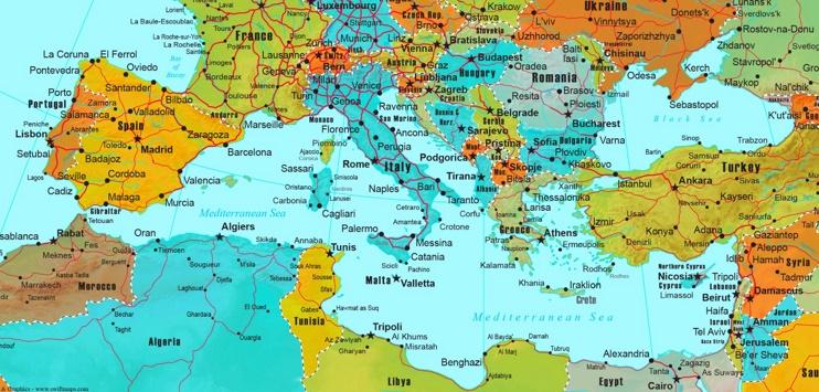 Mediterranean countries map