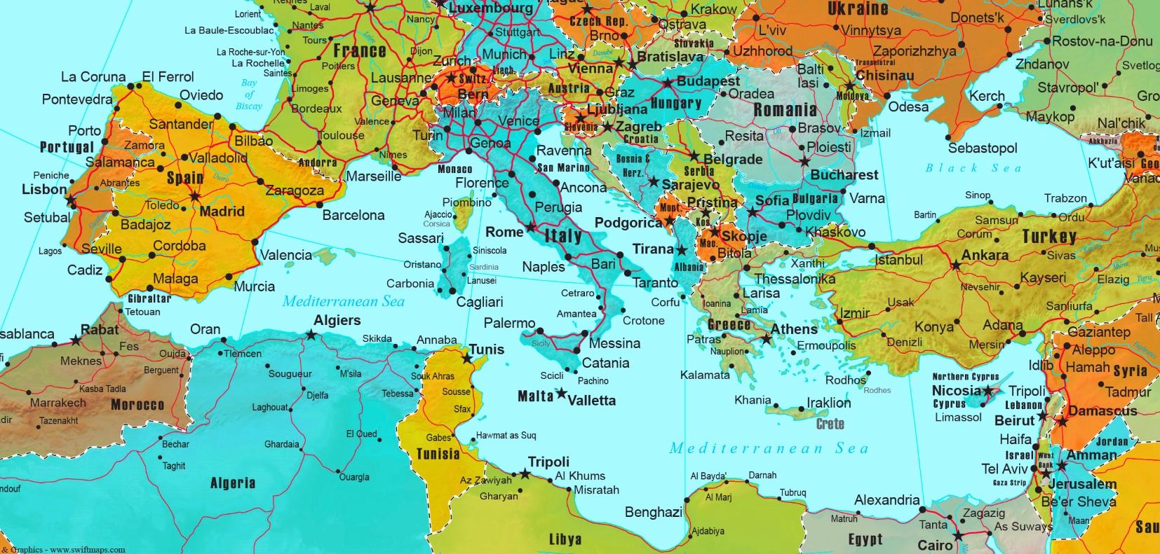 Map Of Mediterranean Mediterranean countries map Map Of Mediterranean
