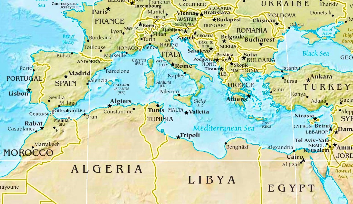 Mediterranean Sea physical map