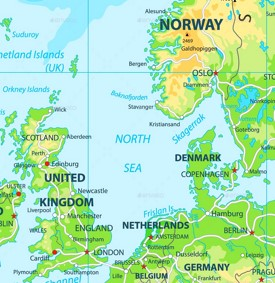 North Sea physical map