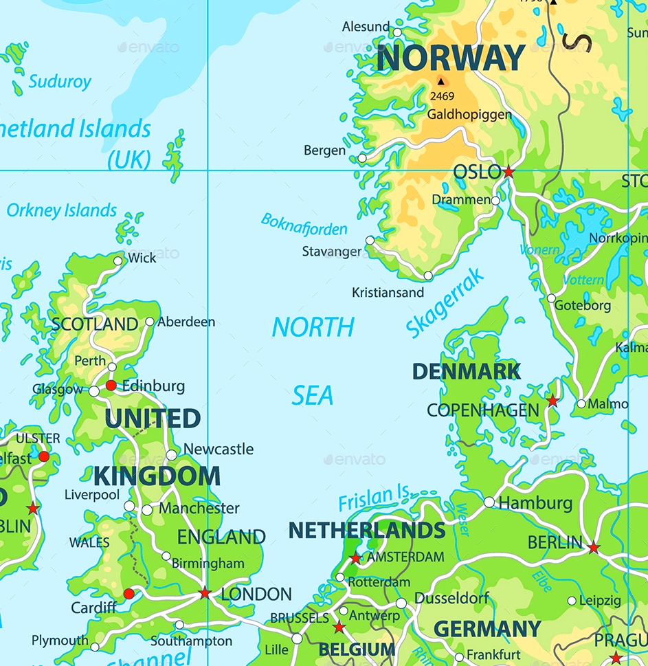 Map Of Germany North Sea.North Sea Maps Maps Of North Sea