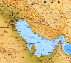 Large detailed map of Persian Gulf with cities and towns